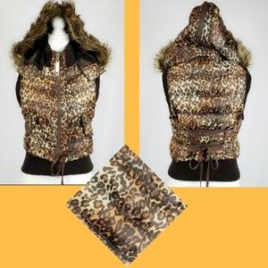 Faux Fur Animal Print Hooded Puff Vest Size Small